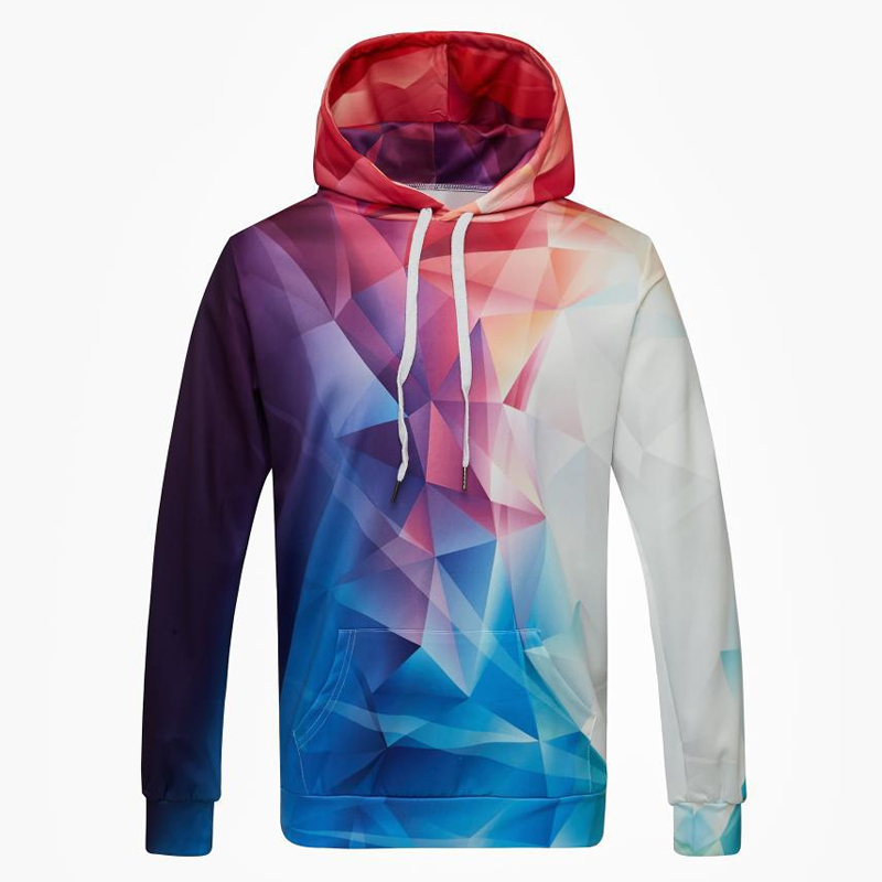 Men Hoodies Long Sleeves Pullover Hooded Pockets 3D Print Tops -MX8