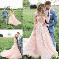 Pink Wedding Dresses 2019 Sexy Bridal Dress Bride Gown A Line Deep V Neck vestido de novia trouwjurk mariee Colorful Wedding