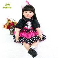 24inch 60 cm Reborn Baby Dolls Girl Soft Silicone baby reborn Stuffed Doll Lifelike Newborn Baby Kids play lol birthday doll