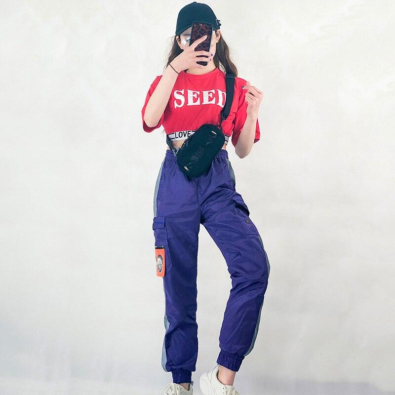 Hip Hop Dance Costume Girls Short Sleeve Street Dancing Clothes Women Cheerleader Costumes Jazz Dancer Modern Stage Wear DT864
