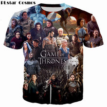 PLstar Cosmos Populaire TV Game Of Thrones De witte wandelaars Ghost 3D Gedrukt Mannen/Vrouwen T-shirt casual tshirt Tees Cool t shirt(China)