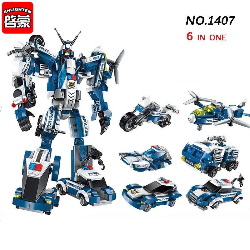 1407 577 pièces 6in1 Police la guerre généraux Robot voiture avion Moto bateau bloc de construction brique jouets pour enfants