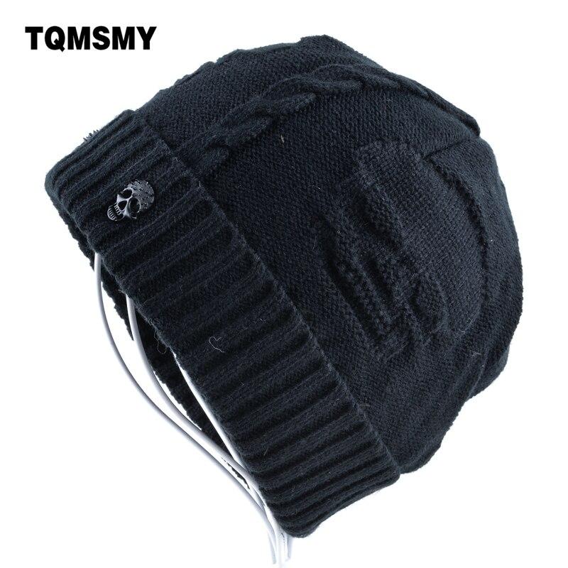 Super cool Crânio padrão chapéus para homens gorros de lã de Malha mais  osso de veludo 5e2cc351e7a