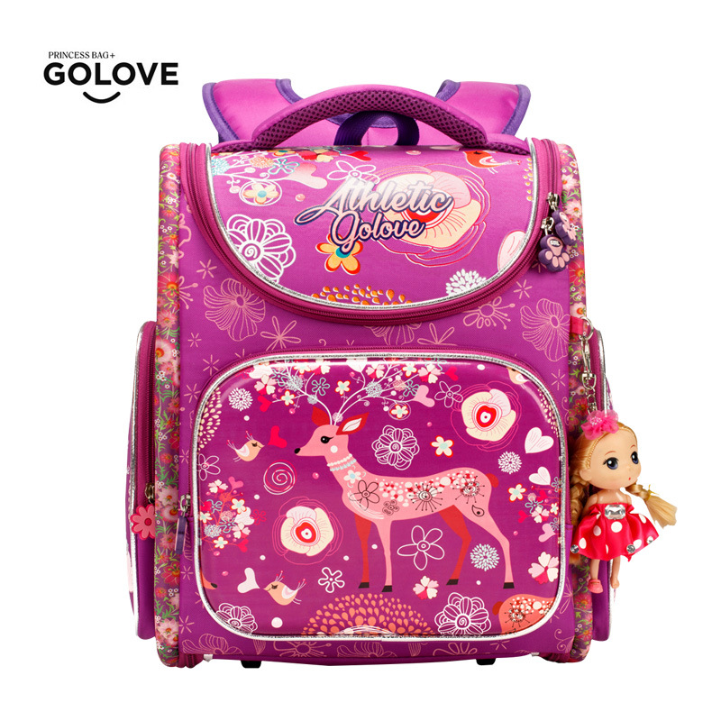 Известный бренд детская школьная сумка для Обувь для девочек Водонепроницаемый ортопедические пятнистого оленя Детские Рюкзаки иностранц...
