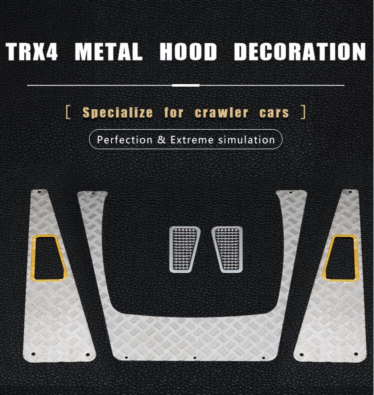 Free Shipping Car Housing Front Metal Plate Metal Inlet Grille Upgrade Spare Part For TRAXXAS TRX4 RC Crawler Car