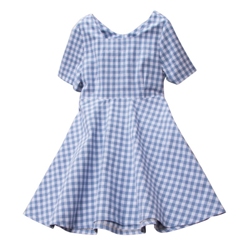 Cute Baby Kids Girls Dresses Vestidos Plaid Children Clothes Short Sleeve Cotton Dresses For Girls