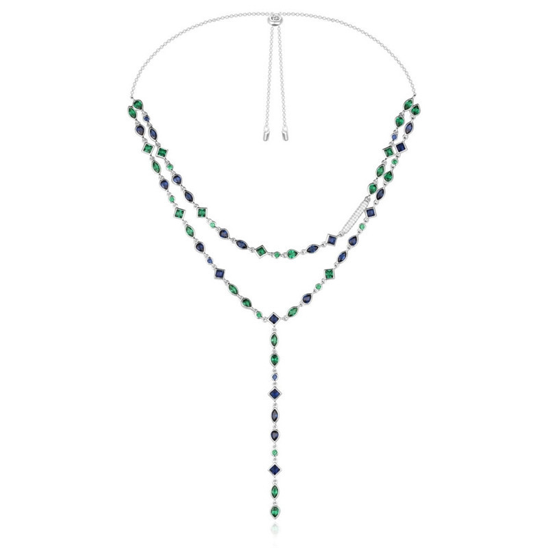 цена Luxury double layer waterdrop semi precious Necklace colored rhombus gem stones 925 sterling silver Monaco tassel Necklace