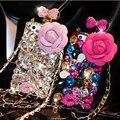Cadeia de luxo com O LOGOTIPO 3D Caixa Do Telefone Strass Bling Do Diamante Capa Fundas Pará para iphone 6 s 6 plus 5S 5 se 5c 4S 4 coque capa