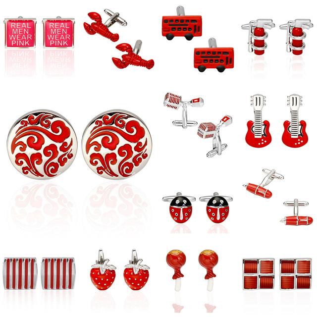Memolissa Luxury Cufflink Mens Cuff Buttons Links Red Wedding Cufflinks High Jewelry
