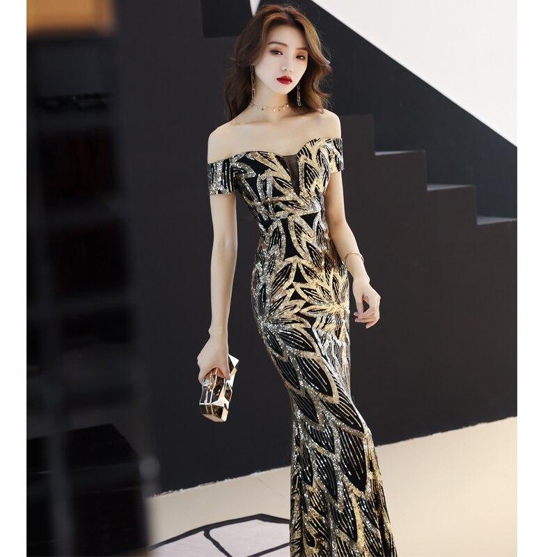 79908d5ed91 Женское черное Золотое блестящее длинное платье с v-образным вырезом для  банкета