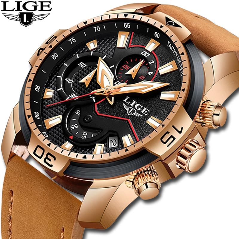 LIGE Fashion Geneva Men Watch Date Alloy Case Leather Analog Quartz Sport Watches Male Clock Top Brand Luxury Relogio Masculino analog watch