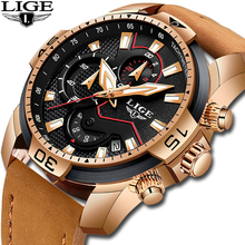 купить LIGE Fashion Geneva Men Watch Date Alloy Case Leather Analog Quartz Sport Watches Male Clock Top Brand Luxury Relogio Masculino дешево