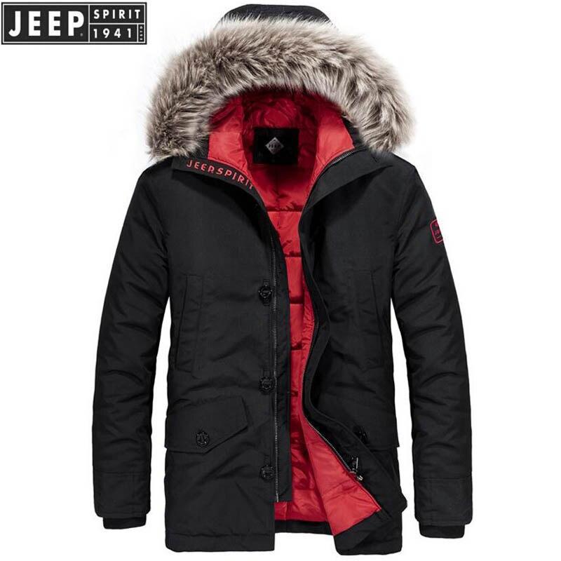 JEEP SPIRIT Winter Jacket Men -20 Degree Warm Down Jacket Parkas Coat Fur Hooded Windbreaker Men Military Jacket Doudoune Homme