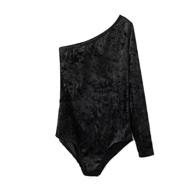 215e2b13bc3e Sexy Single Shoulder Long sleeve Velour Bodysuit New Woman Black  Shoulderless Tight Short Jumpsuit Slim fit Rompers Playsuit