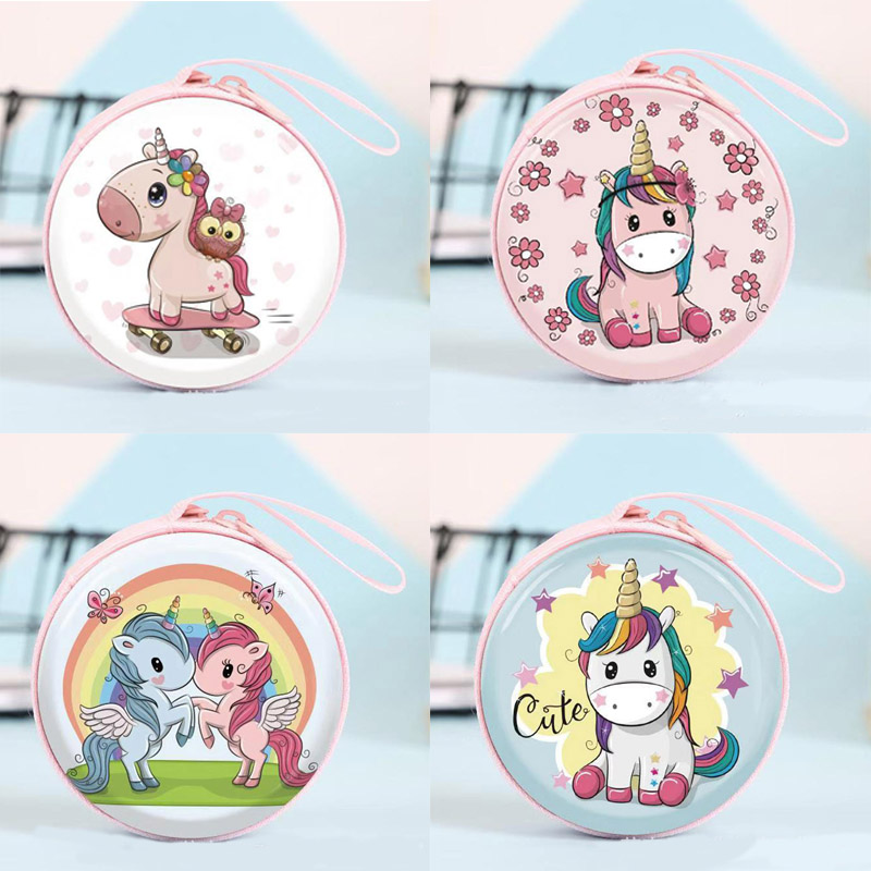 Newest 6 Styles Cute Unicorn Mini Bag Cartoon Coin Purse kids Girls Wallet Earphone Box Bags Wome Wedding Gift  Christmas Gift