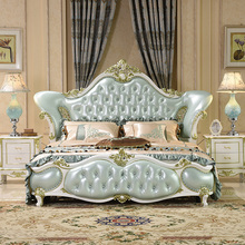 modern european solid wood bed Fashion Carved  leather  french bedroom furniture c1901 furniture bedroom double box solid wood simple bed