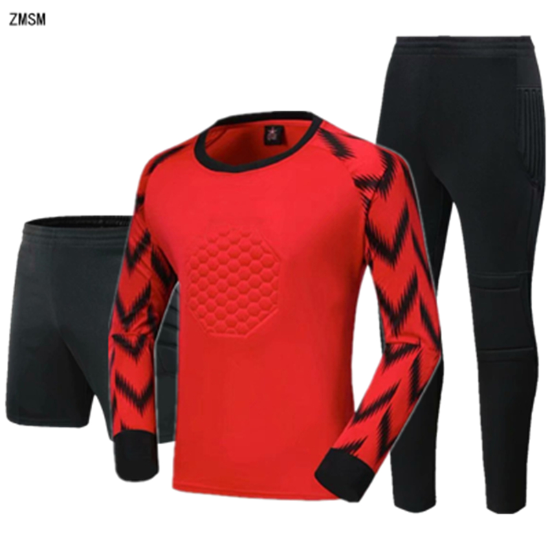 ZMSM Youth Goalkeeper Soccer Jerseys Kit Men Goalkeeper Football Uniform Sponge Protection Goalie Shirt Training Pants & Shorts
