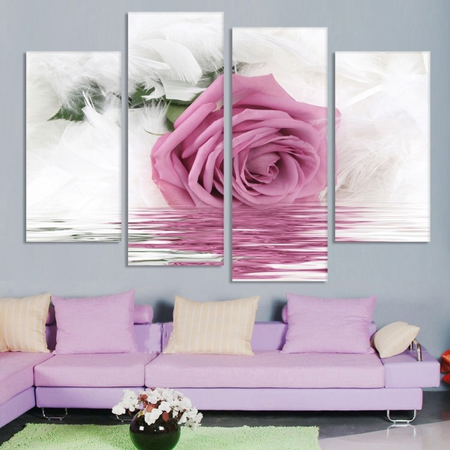 Fashion Unframed 4 Pcs Rose Pictures Canvas Art Oil Painting Flower ...