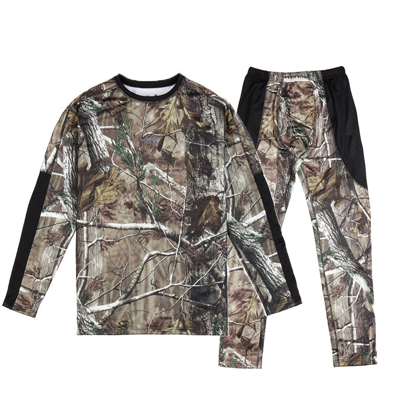 Outdoor Men Bionic Camouflage Hunting Clothes Breathable Round Neck Men's Hunting Suit Underwear Suit Long Sleeve Shirts Pants green cut out camouflage round neck long sleeves t shirts