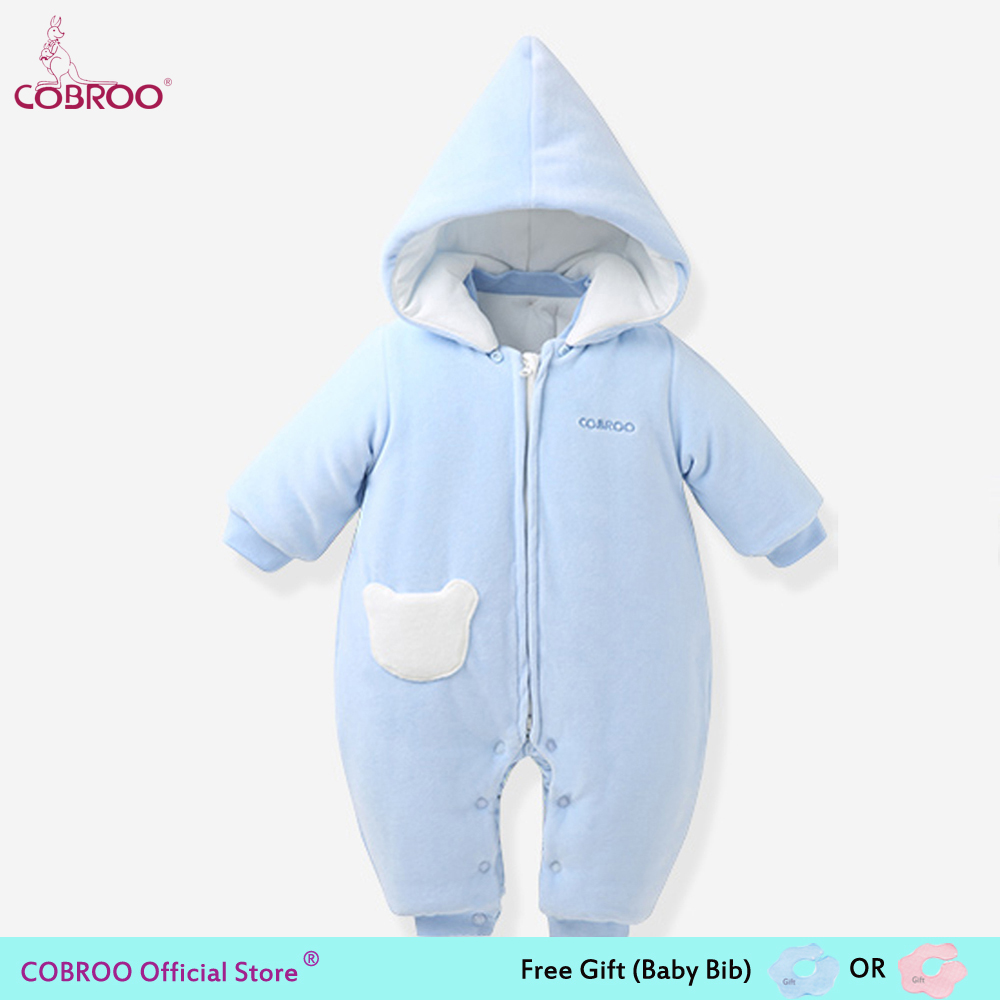 COBROO Newborn Baby Romper Winter 100% Cotton 0 6 Month Infant Clothes Baby Girl Boy Jumpsuit Hooded Kid Outerwear Bear 750013