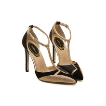 Golden Rhinestone Patchwork Mix Color 11cm High Heels Women Pumps Sexy Pointed Stiletto Heels Woman Dress