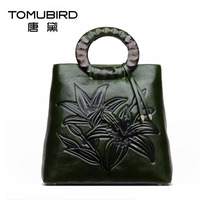 2017 New women bag leather brands quality cowhide fashion luxury exquisite ethnic style high capacity women handbags bag