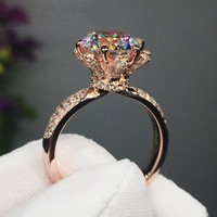 Choucong Flower Ring 3ct Diamonique Cz Rose Gold 925 Sterling Silver Engagement Wedding Band Ring For