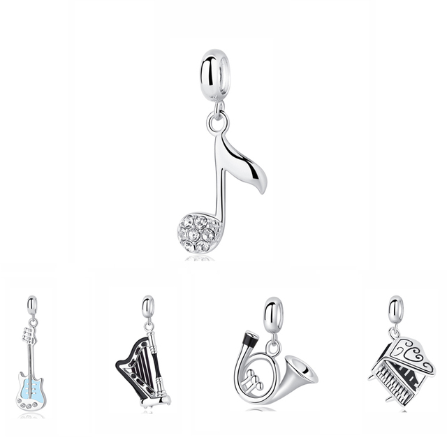 a83976f91 100% 925 Sterling Silver Charm Bead Music Note Bass Guitar Piano Pendant  Charms Fit Pandora