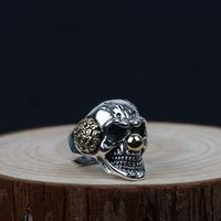 S925 Sterling Silver Skull Clown Male Ring Domineering Personality Retro Ring J284