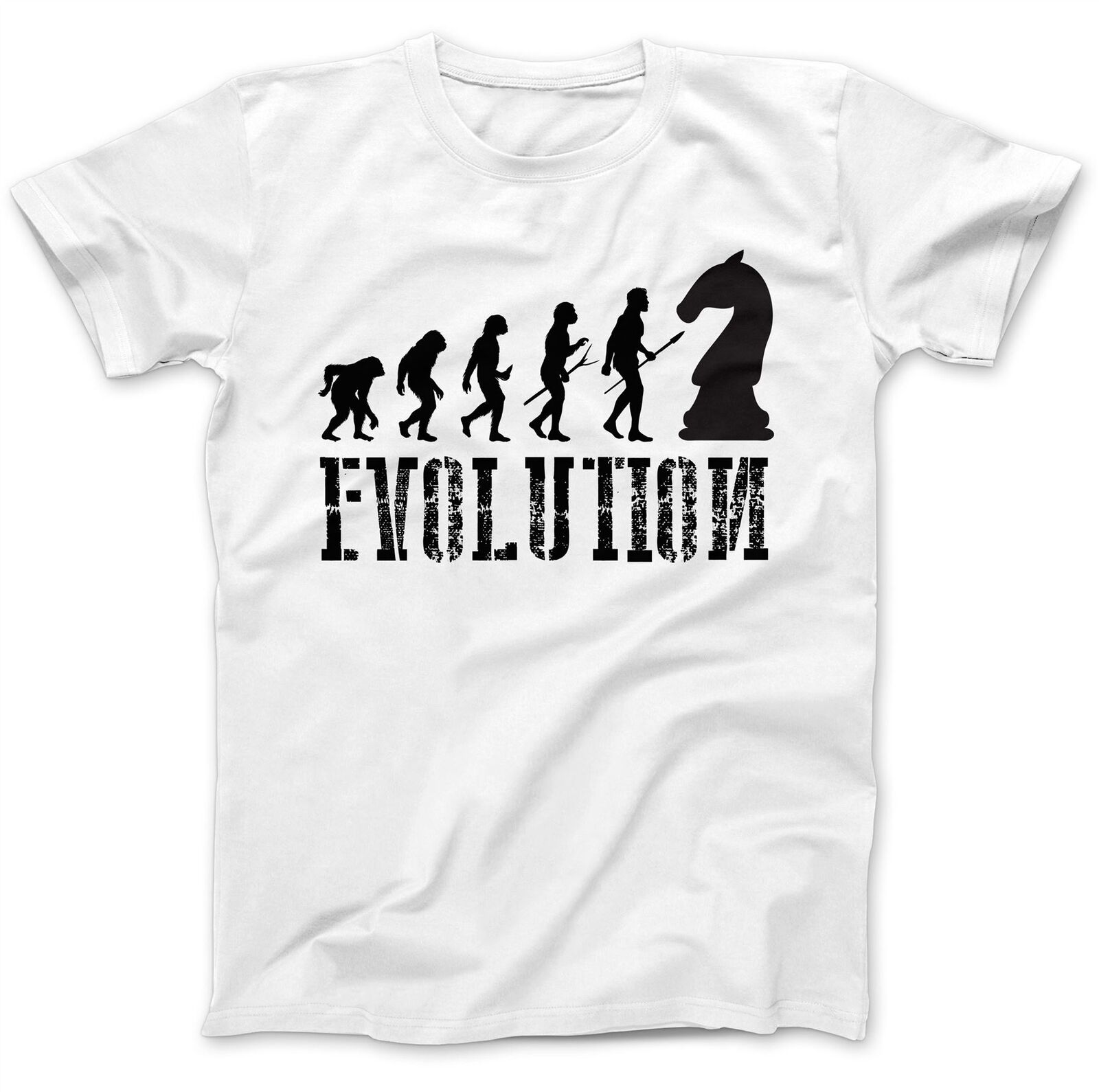 Man's T-shirt Chess Player Evolution Chessboard T-Shirt 100% Premium Cotton Piece Gift Present image