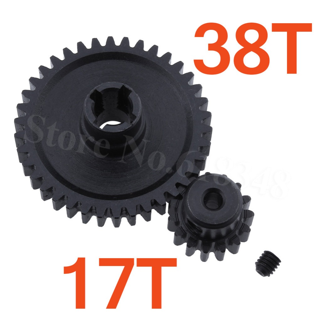 2pcs Metal WLtoys A979 Differential Main Gear 38T with Motor Pinion Gear 17T For 1/18 Monster Truck Off Road Car Parts