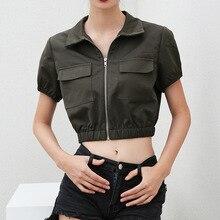 Green Women Short Sleeves Jacket Female Zipper Cardigan Design Solid Slim Midriff-baring Short Coat Joggers Sweat Suits Women sexy midriff baring tops
