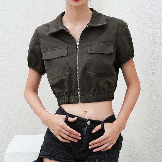 66e59ac0867 Green Women Short Sleeves Jacket Female Zipper Cardigan Design Solid Slim  Midriff-baring Short Coat Joggers Sweat Suits Women