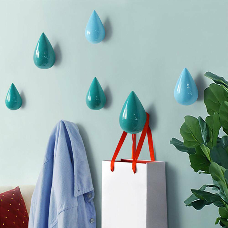 Image 5 - 1pcs Brief Modern Novelty Creative Water Drop Shape Wood Wall Hanger Bathroom Door Coat Hat Single Wall Hook Holder Home Decor-in Hooks & Rails from Home & Garden