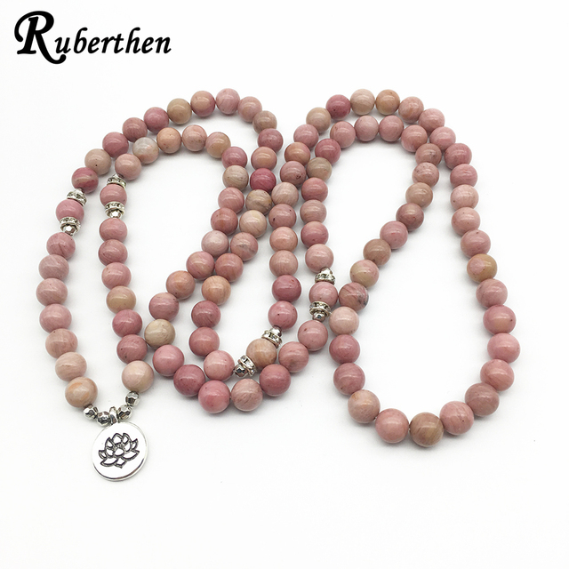 Ruberthen On Sale New Women`s Yoga Bracelet 108 Mala Rhodonite Balance Bracelet Simple Design Healing Spiritual Gift 2