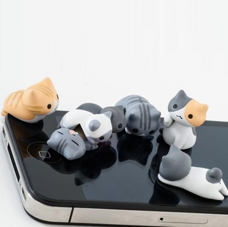 Cute cat earphone dust plug Universal phone plug for iphone