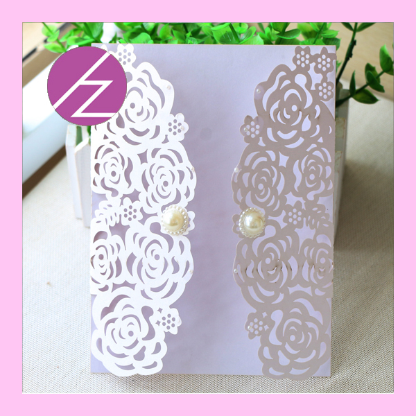 100 Pic Hot Sell Wedding Cards Laser Cut Flower Design Greeting QJ45