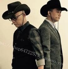 100% Wool Womem Men Western Cowboy Hat With Wide Brim Punk Belt Cowgirl Jazz Cap With Leather Toca Gentleman Sombrero Cap 23