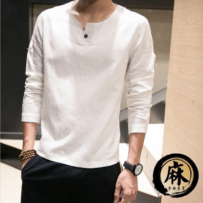 2019 Fashion Long Sleeve Men's Shirts Male Casual Linen Shirt Men Brand Plus Size Blouse Camisas M-5XL 6XL 7XL Black White Red