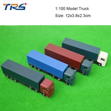1 100 scale 12cm long architectural model plastic miniature Container truck trailer for model building train
