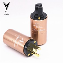 цена на YIVO DIY Accuphase OFC Pure Copper Plated Gold Conductor Aluminium alloy Shell 20mm OD US EU Euro IEC power Connector AC plug