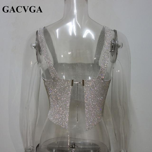 GACVGA 2020 Glitter Women Rhinestone Party Tank Tops Summer Beach Crystal Bustier Crop Top Sexy Diamonds Nightclub T-Shirt Camis 6
