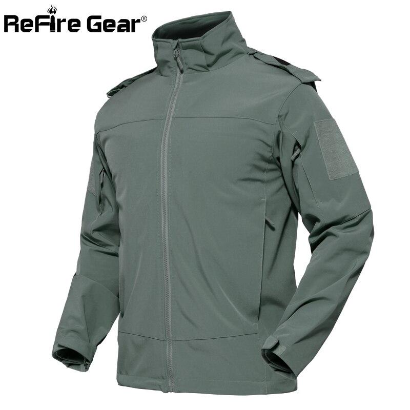 ReFire Gear Urban ยุทธวิธีกันน้ำแจ็คเก็ตชายฤดูใบไม้ร่วง Windproof Softshell Hoodie เสื้อกันหนาว SWAT Secret เสื้อทหาร-ใน แจ็กเก็ต จาก เสื้อผ้าผู้ชาย บน   1