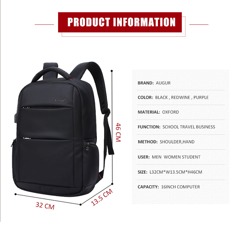 AUGUR Brand Backpacks USB Charging 16 inches Laptop Back pack Men Teenagers  Travel Large Capacity Casual Fashion Style Back Bag-in Backpacks from  Luggage ... f24f43f71c45a