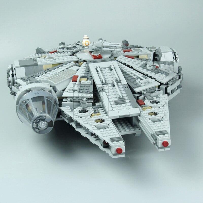 Lepin 05007 Star Series Force Awakens Millennium Building Falcon Blocks Compatible Legoingly 75105 Kids Lepin Wars Toys стоимость