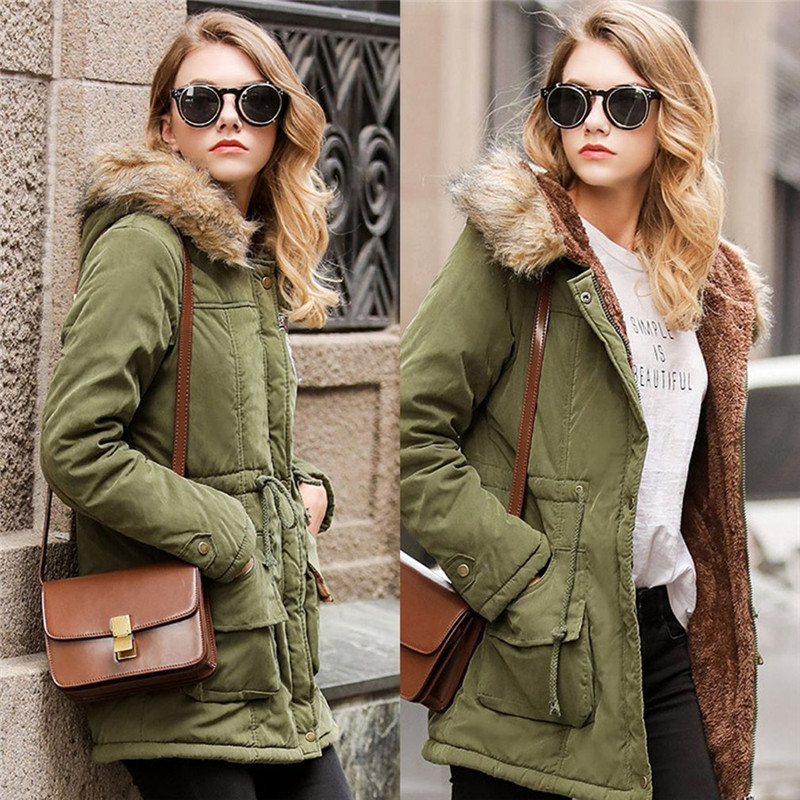 Women Army Green Coat 2017 New Winter Solid Loose Basic Jacket Thick Warm Hooded Coat Fur Collar Clothing Female Casual Overcoat chesmono new 2017 winter jacket women loose hooded fur collar thick loose size coat outwear warm thick parkas army green black