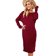winter dress women O neck long batwing sleeve knitted dress plus size red black grey knee
