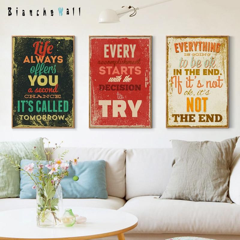 Elegante poëzie Retro Engelse Motto inspirerende citaat kleur A4 - Huisdecoratie