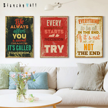 Retro English Motto Inspirational Quote Color Canvas Painting Art Print Poster Picture Wall Paintings Home Decoration Wall Decor motto print cloth art