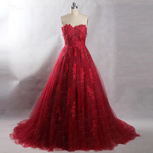 yiaibridal RSE839 Elegant Burgundy Tulle Skirt Prom Dress